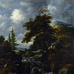 Jacob Salomonsz. van Ruysdael – A Waterfall by a Cottage in a Hilly Landscape, Part 4 National Gallery UK
