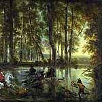 Jan Hackaert and Nicolaes Berchem – A Stag Hunt in a Forest, Part 4 National Gallery UK
