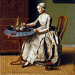 A Lady pouring Chocolate (), Jean Etienne Liotard