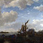 Part 4 National Gallery UK - Jan van de Cappelle - A River Scene with a Dutch Yacht firing a Salute