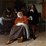 An Interior with a Man offering an Oyster to a Woman, Jan Havicksz Steen