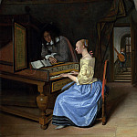 A Young Woman playing a Harpsichord to a Young Man, Jan Havicksz Steen