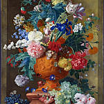 Flowers in a Terracotta Vase, Jan Van Huysum