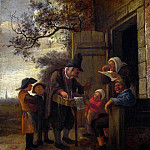 A Pedlar selling Spectacles outside a Cottage, Jan Havicksz Steen