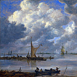 An Estuary with Fishing Boats and Two Frigates, Jan Van Goyen