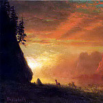 Albert Bierstadt - Bierstadt Albert Deer at Sunset