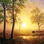Bierstadt Albert Sunset on the Mountain, Albert Bierstadt