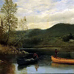 Bierstadt Albert Men in Two Canoes, Albert Bierstadt