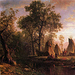 Bierstadt Albert Indian Encampment Late Afternoon, Albert Bierstadt