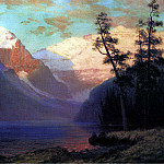 Albert Bierstadt - Bierstadt Albert Evening Glow Lake Louise