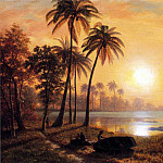 Albert Bierstadt - Bierstadt Albert Tropical Landscape with Fishing Boats in Bay