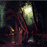 Bierstadt Albert Lake Tahoe Spearing Fish by Torchlight, Albert Bierstadt