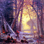 Bierstadt Albert Moose Hunters- Camp, Albert Bierstadt