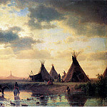 Albert Bierstadt - Bierstadt Albert View of Chimney Rock Ogalillalh Sioux Village in Foreground