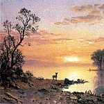 Bierstadt Albert Sunset Deer and River, Albert Bierstadt