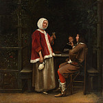 A Woman and Two Men in an Arbor, Pieter de Hooch
