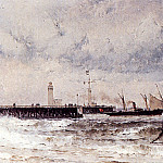 German artists - Weber Theodore Shipping Near A Harbour Entrance