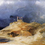 German artists - Blechen Karl - Scaffold In Storm