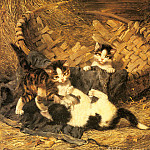 German artists - Adam Julius - Playful Kittens In A basket