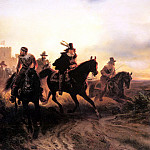 German artists - Camphausen Wilhelm The Cavalry Retreat