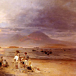 Achenbach Oswald Fishermen With The Bay Of Naples And Vesuvius Beyond, Oswald Achenbach