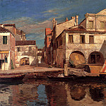 German artists - Bauernfeind Gustav Kanalszene In Chioggia Mit Bragozzo