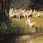 German artists - Sauer Joseph Eduard AT THE SWIMMING HOLE