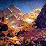 German artists - Achenbach Oswald A Mountainous Landscape