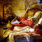 German artists - Gronland Theude A Still Life With Lobster And Game