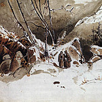 BLECHEN Karl Alpine Pass In Winter With Monks, Немецкие художники