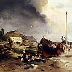 German artists - Achenbach Andreas A Fishingboat On The Beach