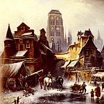 German artists - Meyerheim Paul Wilhelm A View Of Danzig In Winter