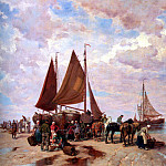 German artists - Thomassin Desire A Coastal Scene With Fisherfolk Sorting The Day s catch Beached