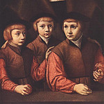 German artists - BRUYN Barthel Portrait Of A Man With Three Sons