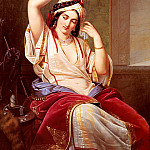 German artists - Jakobs Paul Emil A Harem Beauty At Her Toilette