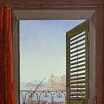 Carl Blechen - Carl Gustav Carus (1789 - 1869) - Balcony Room with a View of the Bay of Naples