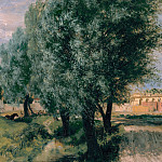 Building Site with Willows, Adolph von Menzel