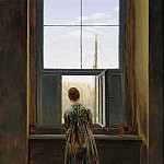 Woman at a Window (Caroline Friedrich, the artist s wife, in the Dresden studio), Caspar David Friedrich
