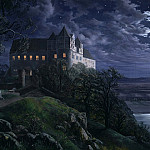 Ernst Ferdinand Oehme - Burg Scharfenberg at Night