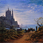 Caspar David Friedrich - Karl Friedrich Schinkel (1781 - 1841) - Gothic Church on a Rock by the Sea