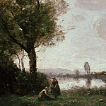 Jean-Baptiste-Camille Corot - River Landscape - The Seine near Paris