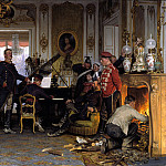Giovanni Segantini - Anton von Werner (1843-1915) - In the Troops' Quarters outside Paris