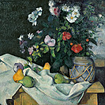 Carl Steffeck - Paul Cezanne (1839-1906) - Still Life with Flowers and Fruit