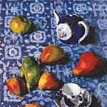 Игорь Эммануилович Грабарь - grabar_pears_on_a_blue_cloth_1915