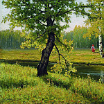Efim Volkov - Summer landscape with a girl