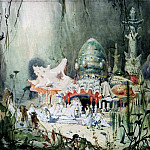 Viktor Vasnetsov - Sketch for the set of the opera Russalka by Aleksandr Sergeyvich Dargomyzhsky (1813-1869)
