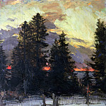 Vincent van Gogh - Pine trees at sunset