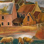 Farm with Lambs, Boris Grigoriev