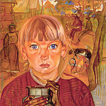 Boris Grigoriev - A Girl with a Can. Morning in a Village