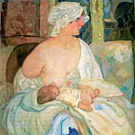 Konstantin Andreevich (1869-1939) Somov - Mother, The Artists Wife and son Kirill